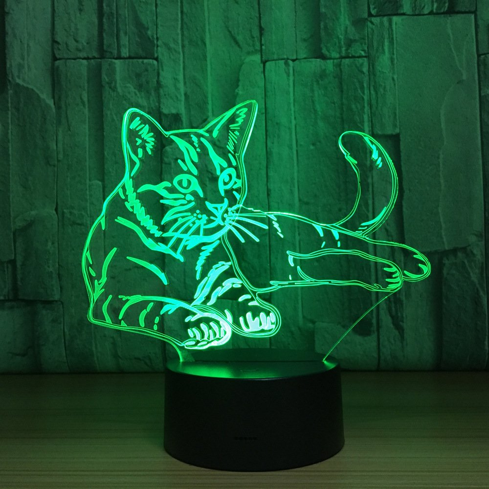 Cat Animal Night Light 3D Visual Bedroom LED Desk Lamp Cat Toy Household Home Room Decor 7 Colors Change Touch Table Light Birthday Gift Christmas Gift for Kids Children and Adult