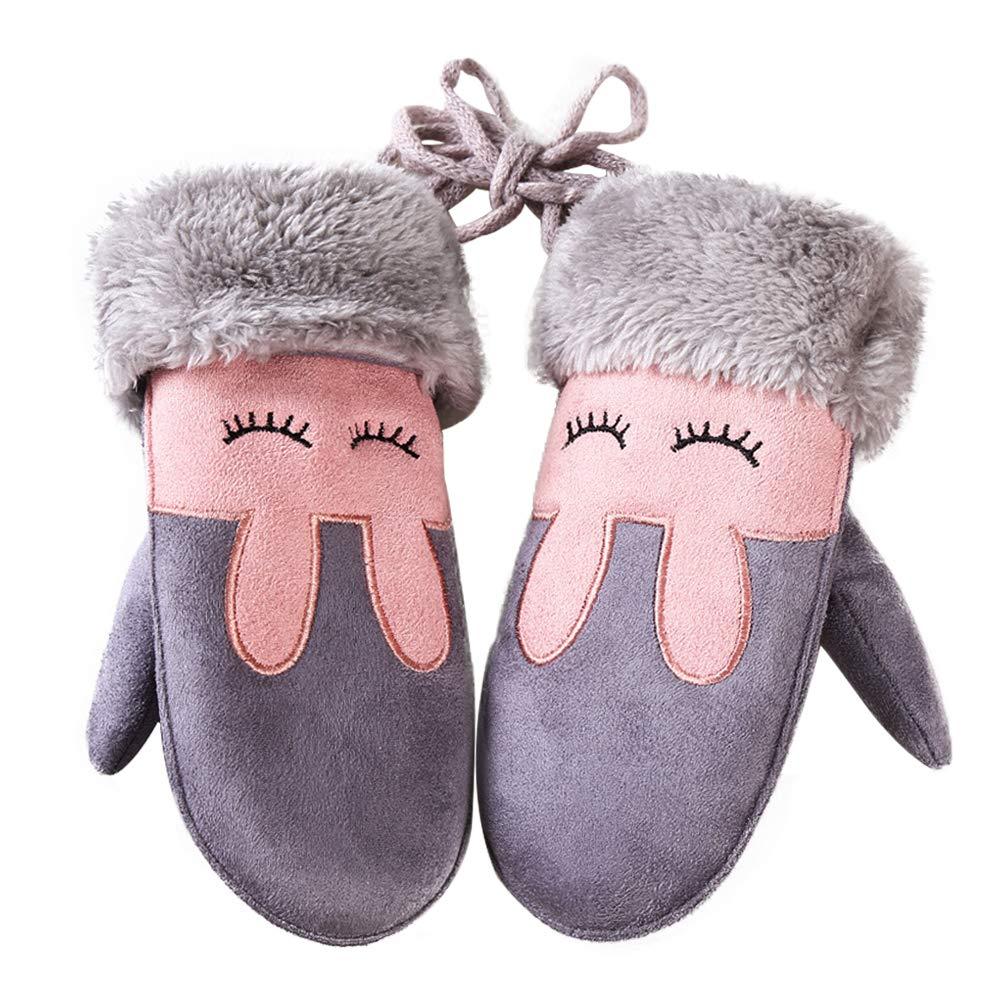 Baby Warm Twist Gloves Cartoon Plush Winter Warm Mittens with Hanging String for Boy Girls