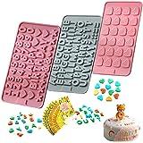 """Moldes de silicona para chocolate, diseño de letras y números, con texto en inglés """"Happy Birthday"""", para pastel, dulces, gel"""
