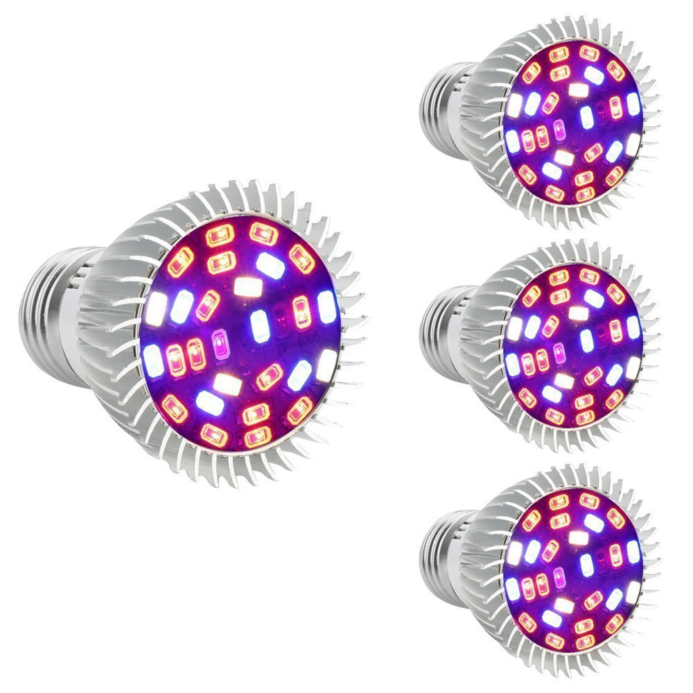 [Pack of 4] Full Spectrum E26 LED Grow Light Bulb, 28W Grow Plant Light for Hydroponics Greenhouse Organic Indoor Plants by Esbaybulbs