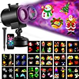 SUGIFT TEC.Bean, 2 in 1 Water Wave Projector with 16 Slides,Remote Control Waterproof Indoor Holiday Decoration Outdoor Christmas Lights New Year Party, Light1, Black