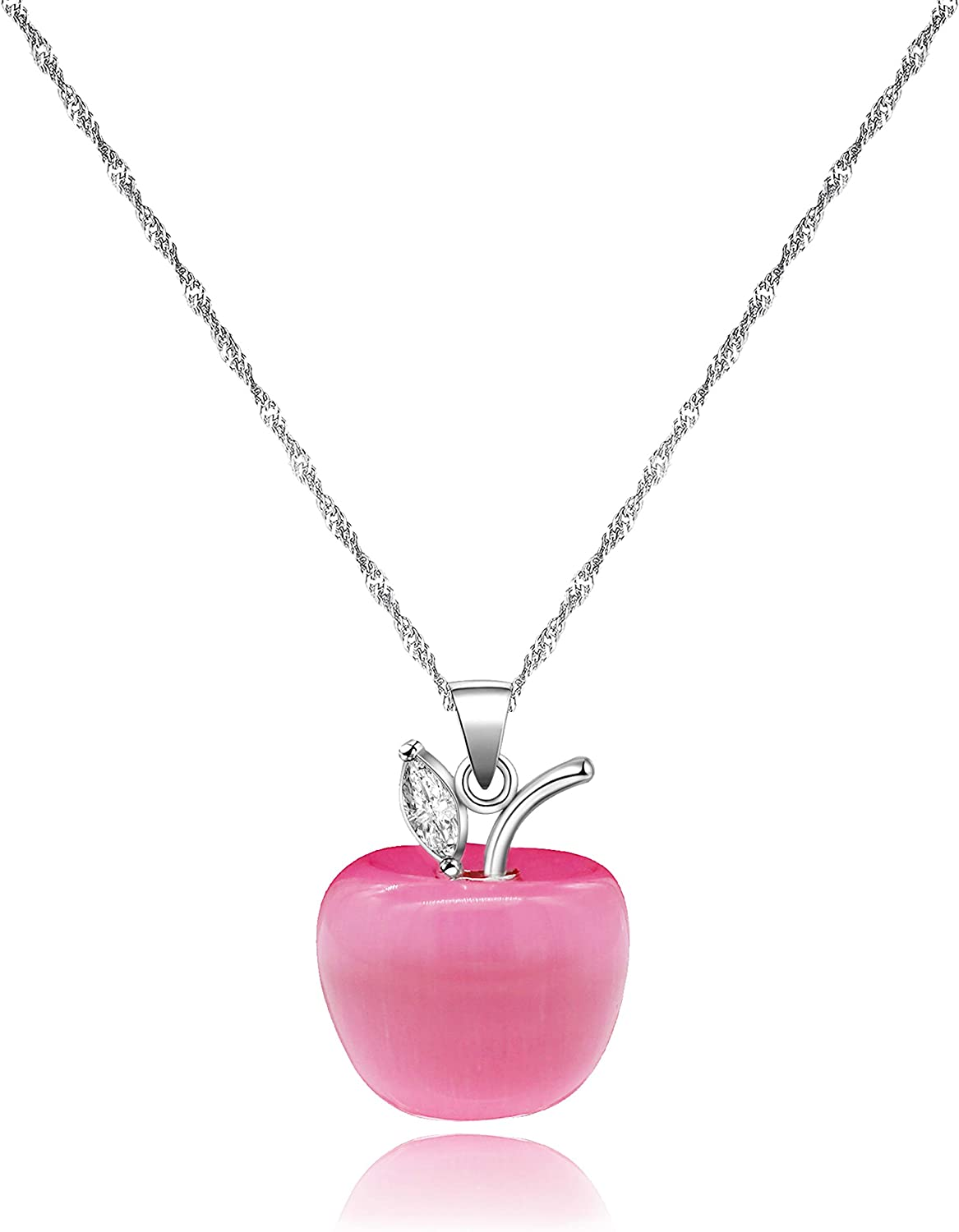 Simulated Cat's Eye Apple Pendant Necklace Thanksgiving Day Gifts for Women Girls ZY042