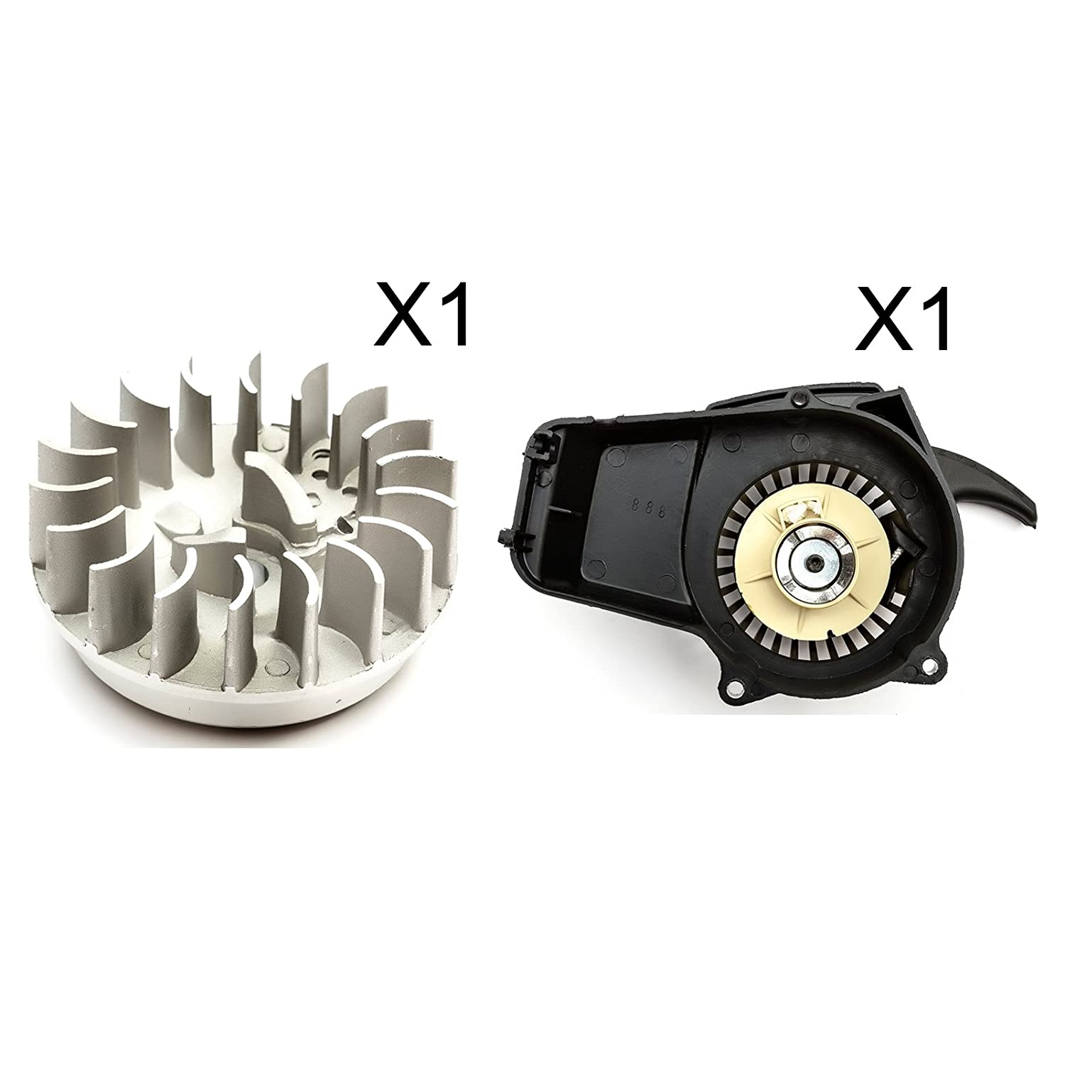 Bundle - 2 Items: Pull Start Plastic & Metal Pawl Type 1 + Flywheel Mini Moto Air Cooled PetrolScooter