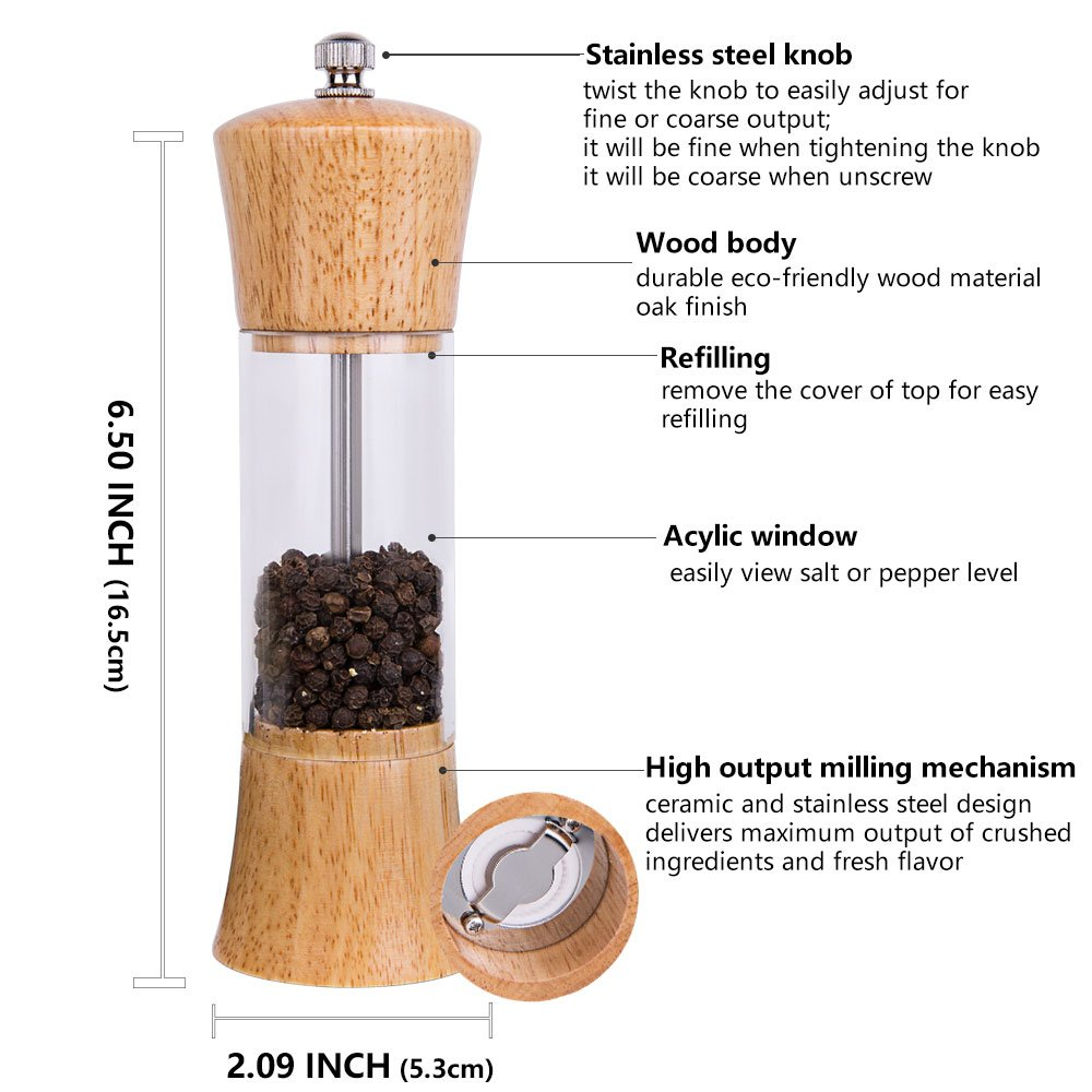 ACEHOOM Pepper Grinder Wood Body Clear Acrylic Window Manual Pepper Mill,6.5'' Tall Body with Ceramic Rotor Adjustable Coarseness Pepper Salt Shaker (wood) by ACEHOOM (Image #4)