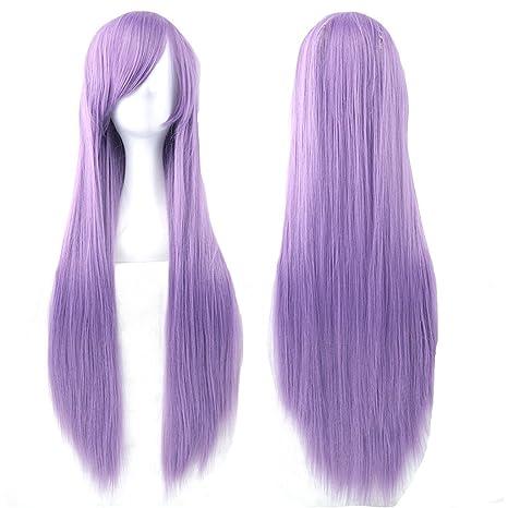 "Fouriding 31.5""/80cm peluca larga Cosplay anime mujer pelo largo peluca recta sintética diaria"