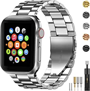 Fitlink Stainless Steel Metal Band for Apple Watch 38/40/42/44mm Strap Replacement Link Bracelet Band Compatible with Apple Watch Series 6 Apple Watch Series 5 Apple Watch Series 1/2/3/4(Silver,42/44mm)
