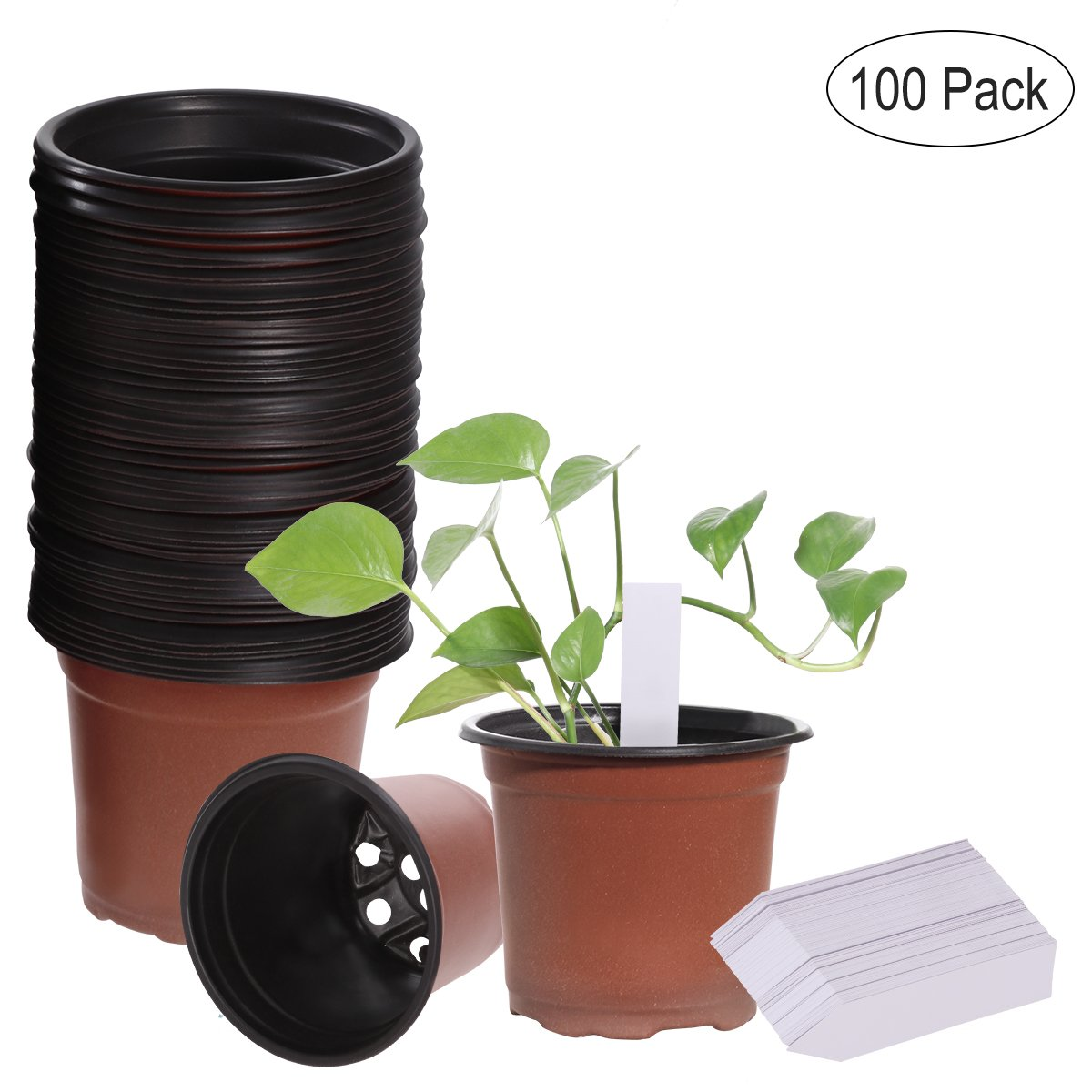 OUNONA 100PCS Flower Pots Lightweight Plastic Plant Containers Nursery Seedlings Pot Container Seed Starting Pots and 100PCS Plants Tags