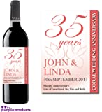 Personalised 35th Coral Wedding Anniversary Wine Bottle Label Gift for Women and Men
