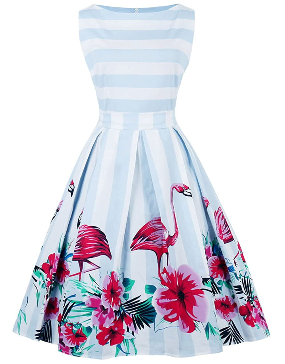 TALLA L. FAIRY COUPLE 50s Vestido de Partido Floral Retro del Oscilación del Cóctel del Vintage con el Arco DRT017 Flamenco Azul