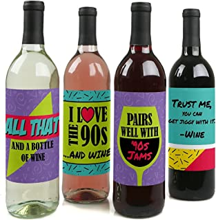 product image for 90's Throwback - 1990s Wine Party Decorations for Women and Men - Bottle Label Stickers - Set of 4