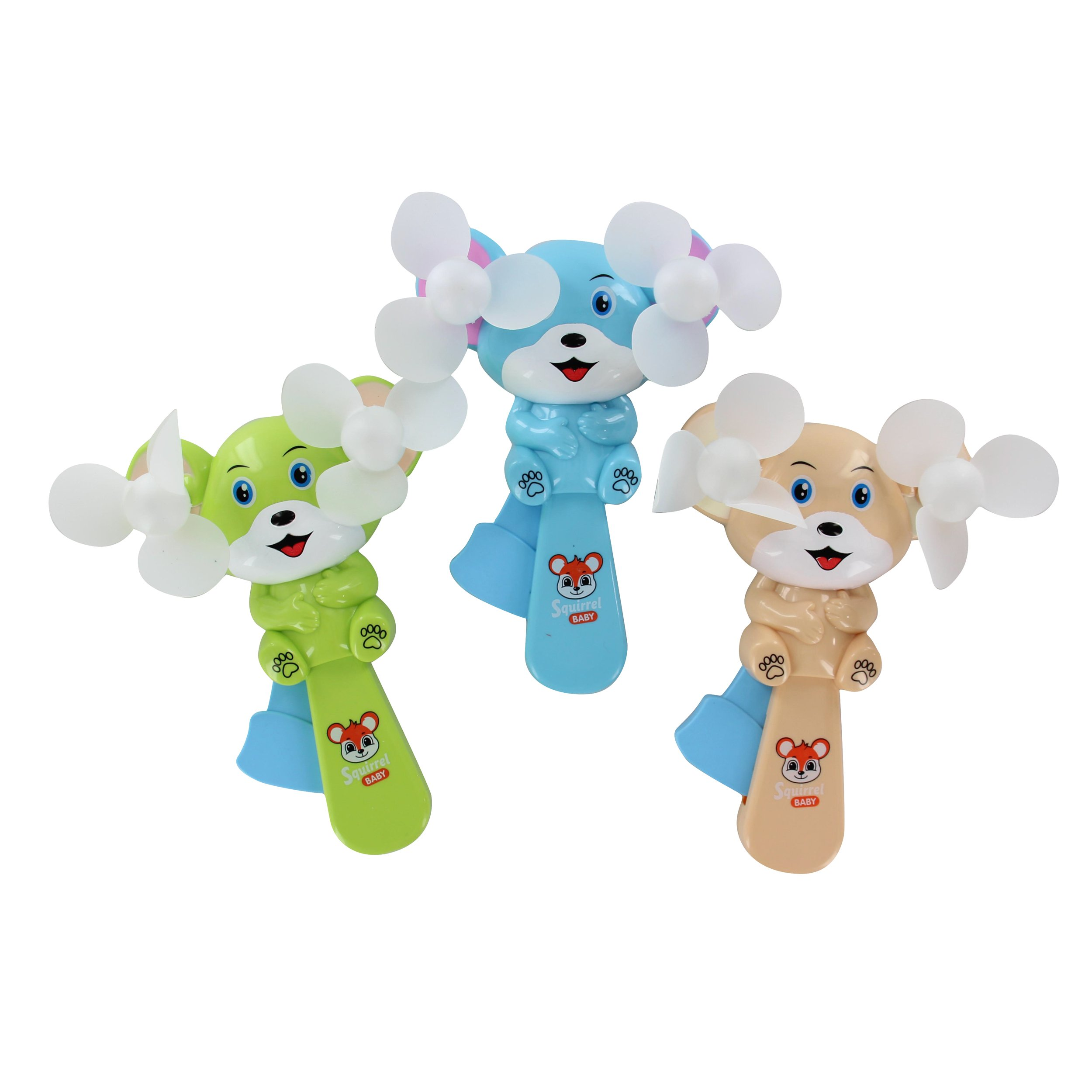 QuStars Valued Pack 3 Portable Hand Press Cooling Cartoon Animal Mini Toy Hand-held Fan (Squirel)