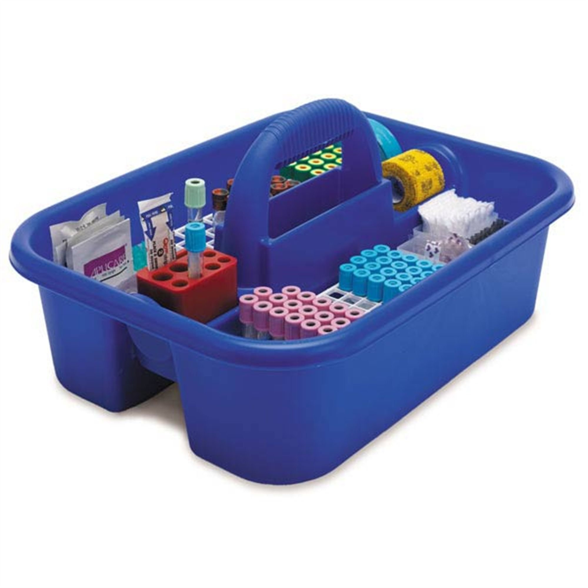 Large Phlebotomy Tote Blue With bin cups, tube racks, and red tube holder