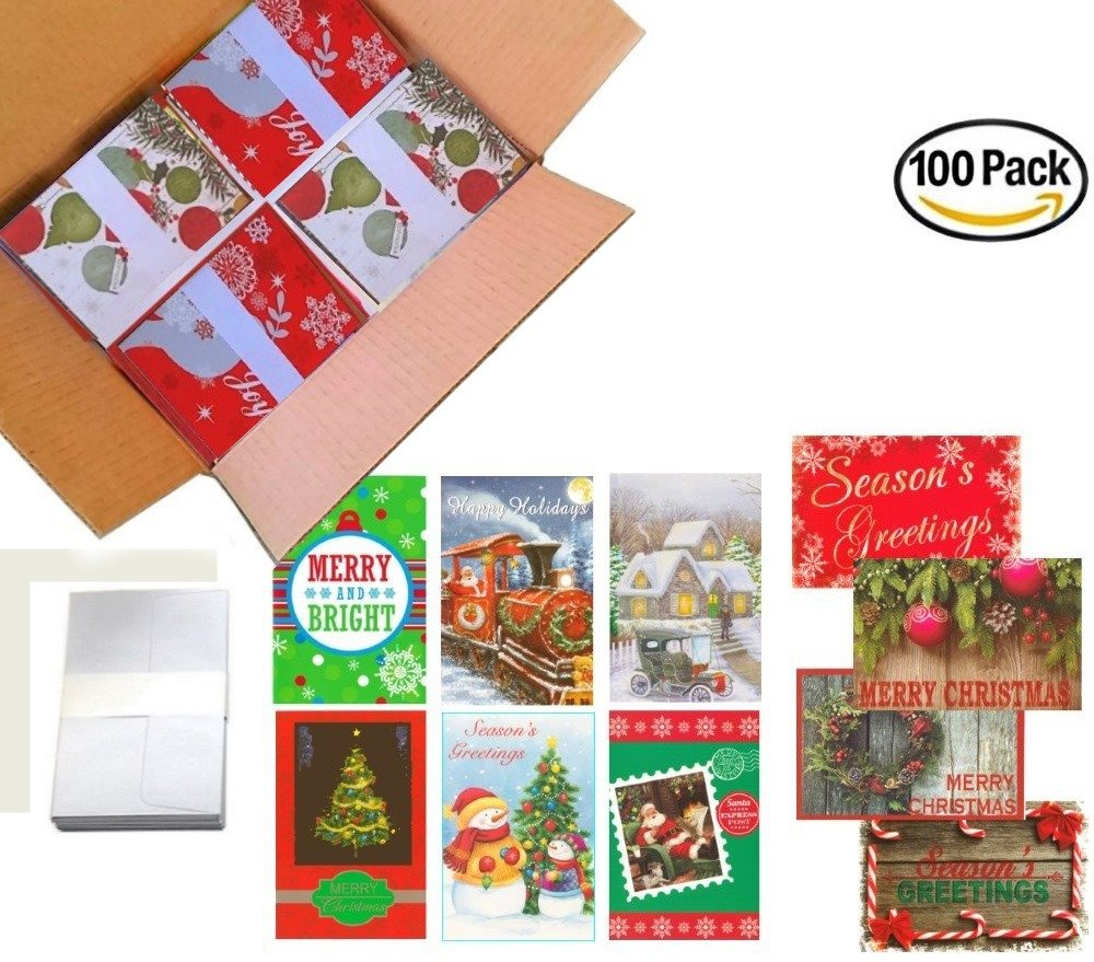 Amazon 100 Wholesale Traditional Christmas Cards With Envelopes