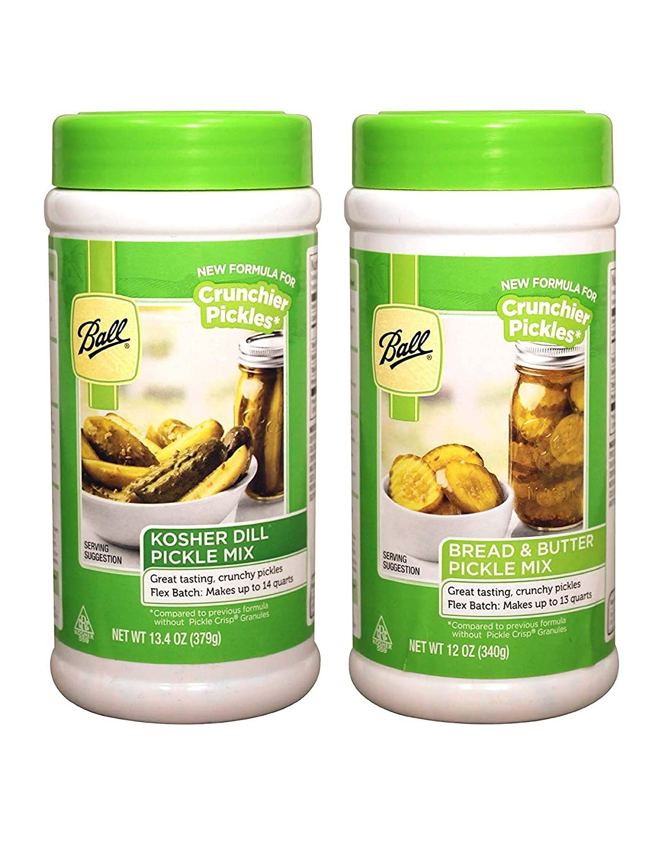 2 Pack: Ball Flex-Batch Kosher Dill Pickle Mix (13.4 oz) and Ball Flex-Batch Bread and Butter Pickle Mix (12 oz) - (Quantity 2 total)