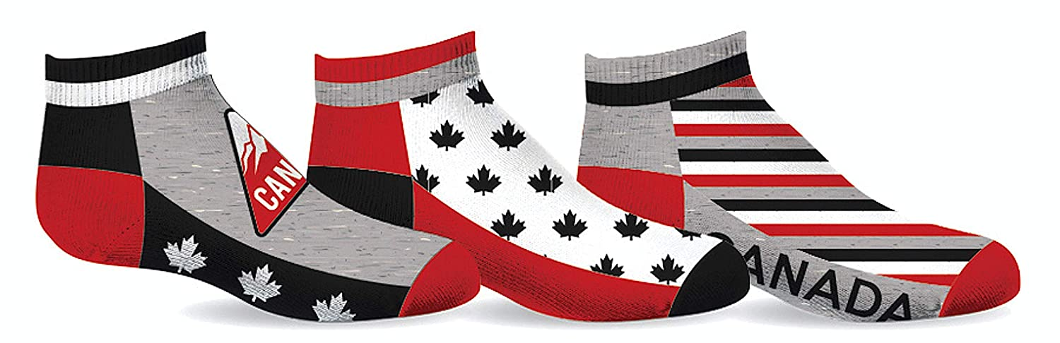 Canada Maple Leaf 3-Pack Boys Anklet Socks Size 6-8 Gertex