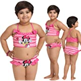 Kids-Girls Multi Color Cute Cartoon Print Halter Two Piece Swimsuit