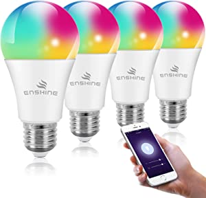 WiFi Smart Light Bulb, Compatible with Alexa, Echo and Google Assistant,LED RGB Color Changing A19 60W, Tunable White 2700K-6500K, No Hub Required 4 Pack ENSHINE
