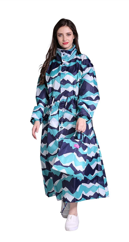 Freesmily Womens Stylish Long Rain Poncho Waterproof Rain Coat with Hood