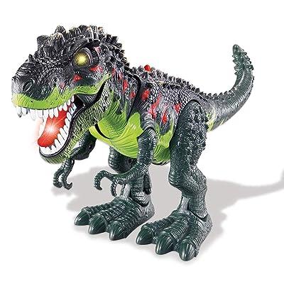 CHIMAERA Chi Mercantile Walking Moving Roaring T-Rex Dinosaur with Glowing Eyes (Green): Toys & Games