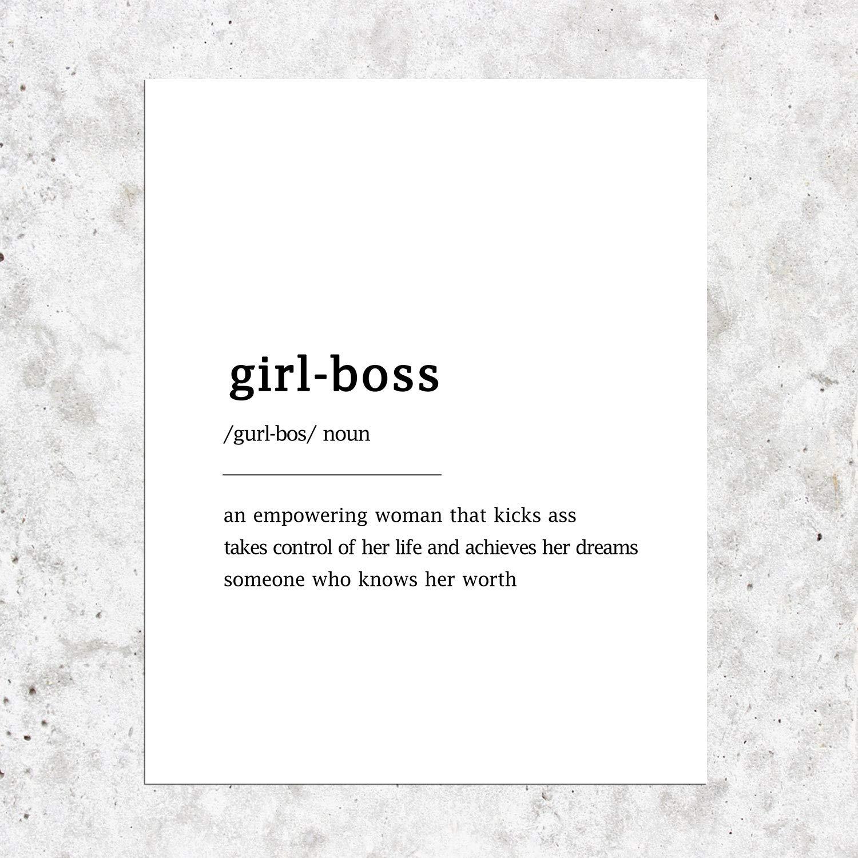 Girl Boss Definition,Typography,Minimalist Print,Modern Wall Art,Office Decor,Girl Boss Print,Feminist Wall Art,Feminist Quote,Boss Babe Gift for Boss Lady 8x10inches Unframed