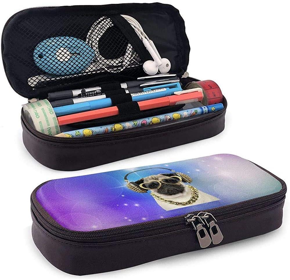 Estuche de lápices de cuero para perros Pug Estuche portátil de viaje para útiles escolares de oficina Estudiantes