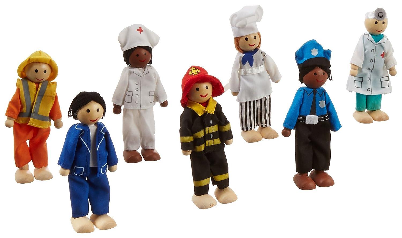 KidKraft 63279 Ensemble de poupées en bois Métiers incluant 7 figurines de 12 cm