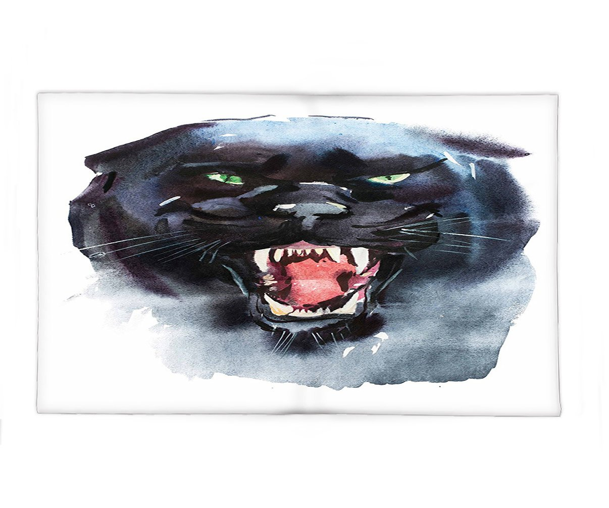 Interestlee Fleece Throw Blanket Animal Wildlife Angry Looking Panther Watercolor Portrait Brushstroke Artful Print Black Light Blue