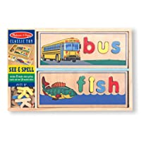 Melissa & Doug See & Spell Wooden Educational Toy With 8 Double-Sided Spelling Boards and 64 Letters