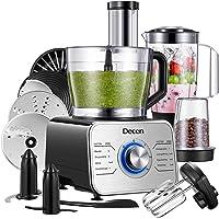Decen 1100W Procesador de Alimentos/ Robot de Cocina Multifunción con 14 Accesorios, 3 Modos de Velocidad y Funciones de…