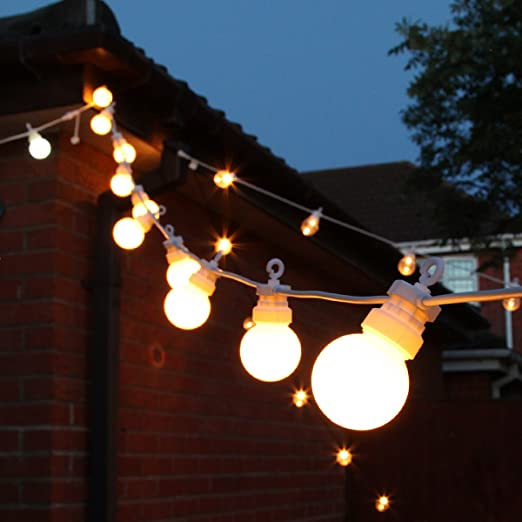 Extendable festoon lights 20 leds frosted bulb warm white 8m extendable festoon lights 20 leds frosted bulb warm white 8m white cable by festive lights amazon kitchen home mozeypictures Choice Image