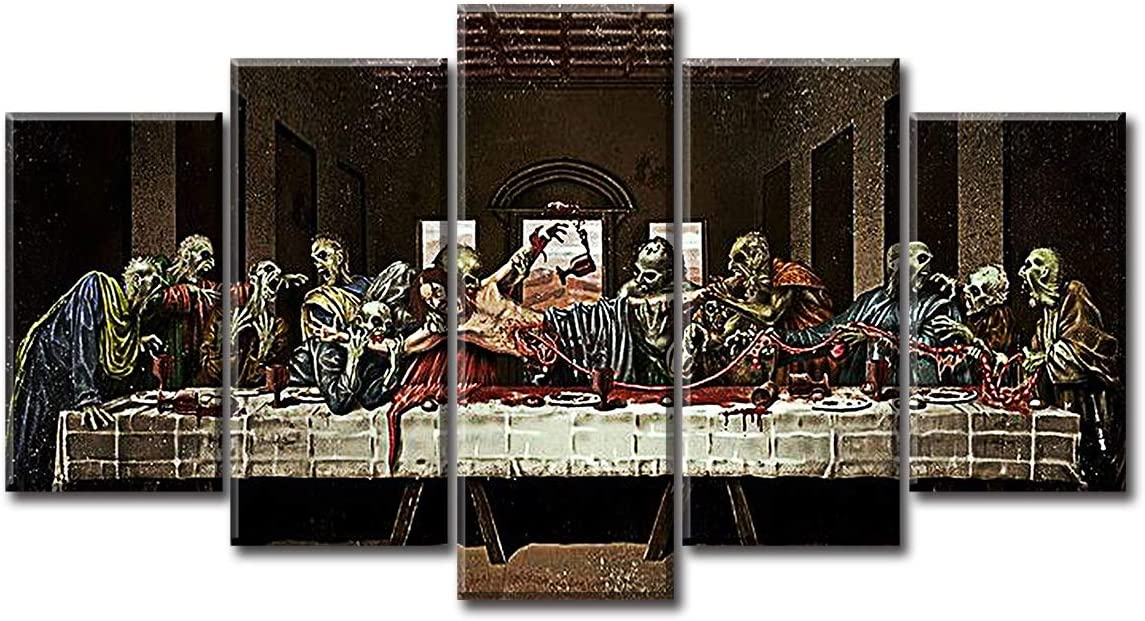 Abstract Devil's' Last Supper by Andrea Solari Wall Art Decor - Day of the Dead Halloween Theme Canvas Prints Painting Pictures Posters Artwork Modern 5 Piece Living Room Home Framed Decorations