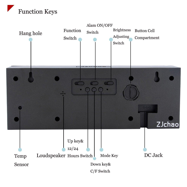 Yosoo Reloj Grande LED Alarma Tiempo Relojes Digital Cuenta Atrás Adelante Reloj con Controlador Remoto (Verde): Amazon.es: Hogar