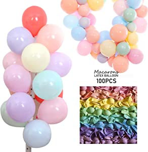 100 PCS Pastel Latex Balloons 12 Inches Large Big Round Macaron Candy Colored Rainbow Assorted Color Biodegradable Bulk Helium Gas or Air Inflated for Kids Birthday Party Decorations Supplies Favors