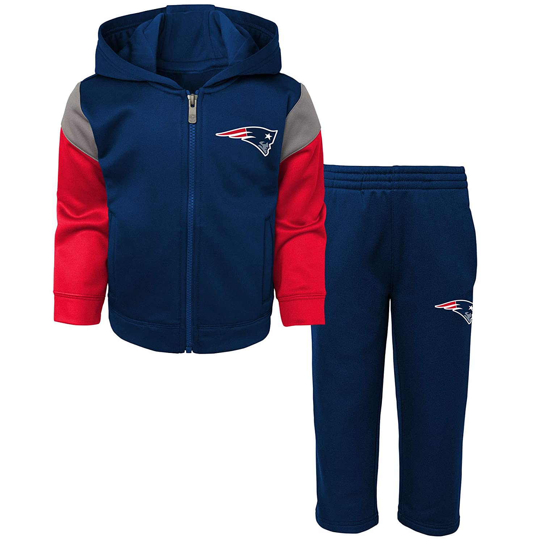 New England Patriots Toddler Blocker Performance Zip-Up Hooded Jacket /& Pant Set