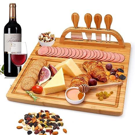 Amazon.com: Juego de tablas de queso de bambú con juego de ...