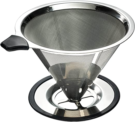 Home Stainless Steel Pour Over Cone Coffee Dripper Coffee Filter Tea Strainer