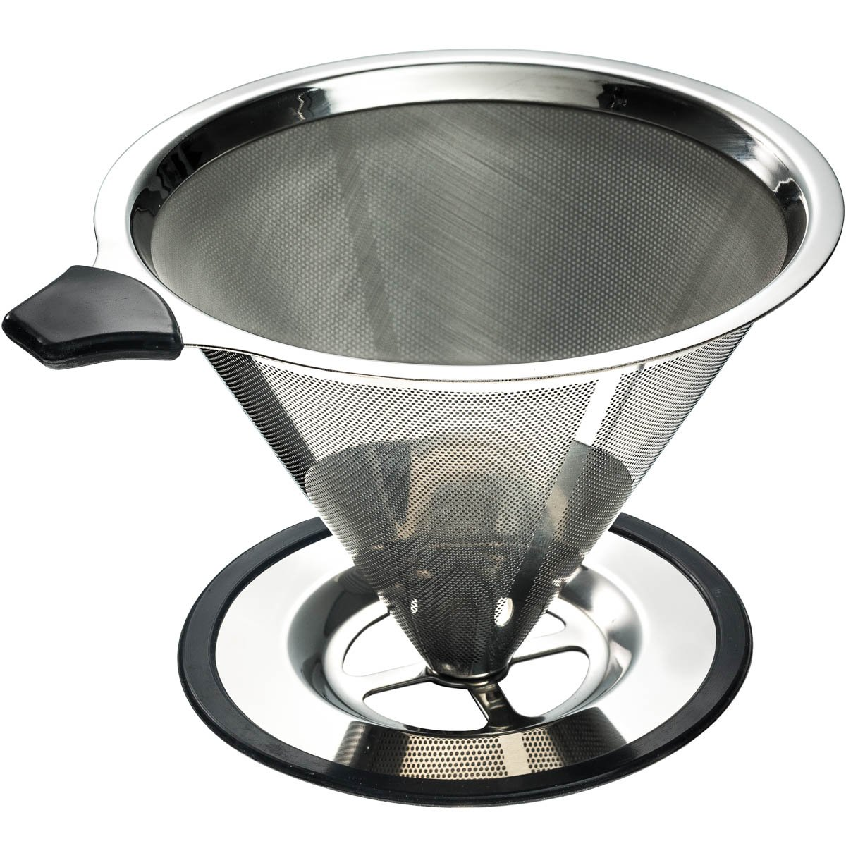 Stainless Steel Pour Over Coffee Cone Dripper with Cup Stand - Perfect for Manual Brewing - Ultra Fine Micro Mesh Filter - Paperless and Reusable - BONUS: Coffee Scooping Spoon + Cleaning Brush by Yitelle
