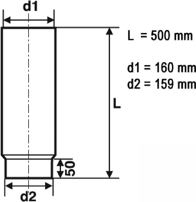 raik SH003-160-gg Rauchrohr//Ofenrohr 160mm 500mm gussgrau
