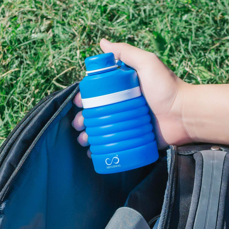 per Viaggi Fitness e Sport allAria Aperta Campeggio Approvata dalla FDA a Prova di perdite Borraccia Pieghevole in Silicone per Uso Alimentare MEYUEWAL Meyuwal Trekking