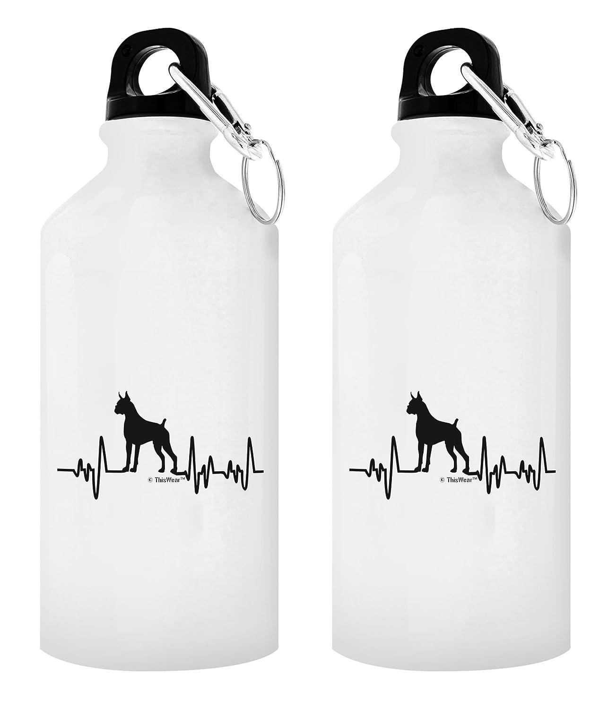 Dog LoverハートビートボクサーLoverギフト犬ギフトアルミニウムウォーターボトルキャップ&スポーツトップ B077FDVLFT 20 oz White 2