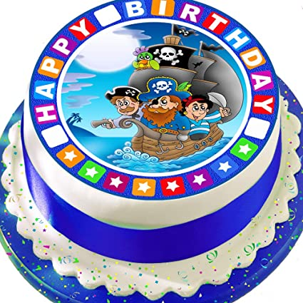 Pleasant Precut Edible Icing Cake Topper 7 5 Inch Round Pirate Ship With Personalised Birthday Cards Bromeletsinfo