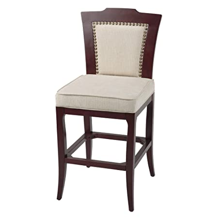 Leggett Platt Springfield Bar Stool with Merlot Finished Wood Frame, Oatmeal Upholstery and Nailhead Trim, 30-Inch Seat Height
