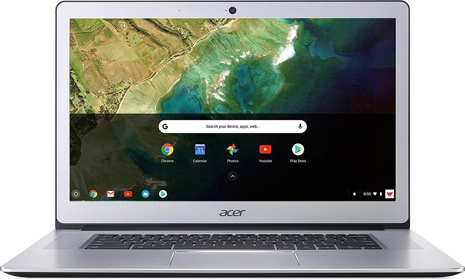 Acer Chromebook 15, Intel Celeron N3350, 15.6'' Full HD Touch, 4GB LPDDR4, 32GB Storage, Google Chrome, Pure Silver, CB515-1HT-C2AE, 15-15.99 inches by Acer