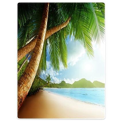 YISUMEI Manta de techos suavemente franela suave manta colcha playa palmeras océano, poliéster, Weiß