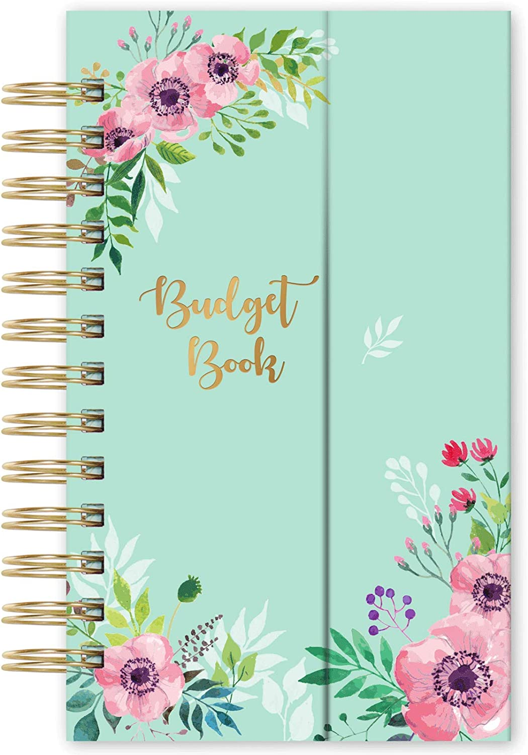 """Budget Planner - Undated Monthly Bill Organizer with Pockets, Expense Tracker Notebook, Compact Size 7.56"""" x 4.72"""", Budgeting Journal and Financial Planner Budget Book - Water Ink Flower"""