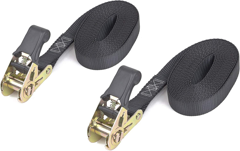 no Hooks 2-Pack Black PowerTye 1in x 4ft Easy-Grip Light-Duty Endless Ratchet