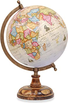 World Globe - Desktop Rotating Wooden Antique Decorative World Globe with  Copper Stand - Big Earth Modern Vintage Globes for Home and Office Desk