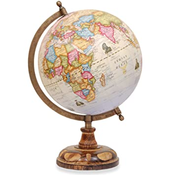 World Globe   Desktop Rotating Wooden Antique Decorative World Globe With  Copper Stand   Big Earth
