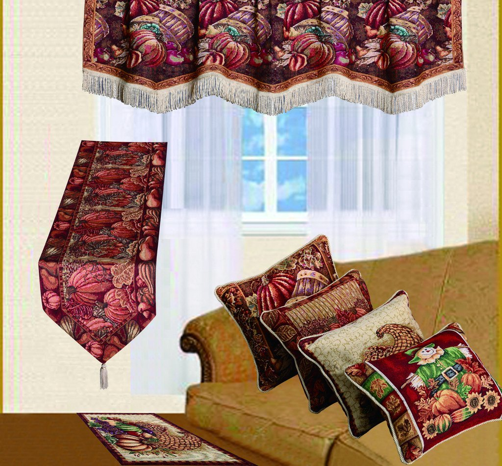 HomeCrate Fall Harvest Collection, Tapestry Cornucopia with Pumpkins and Fruits Design 18 x 18 Throw Pillow