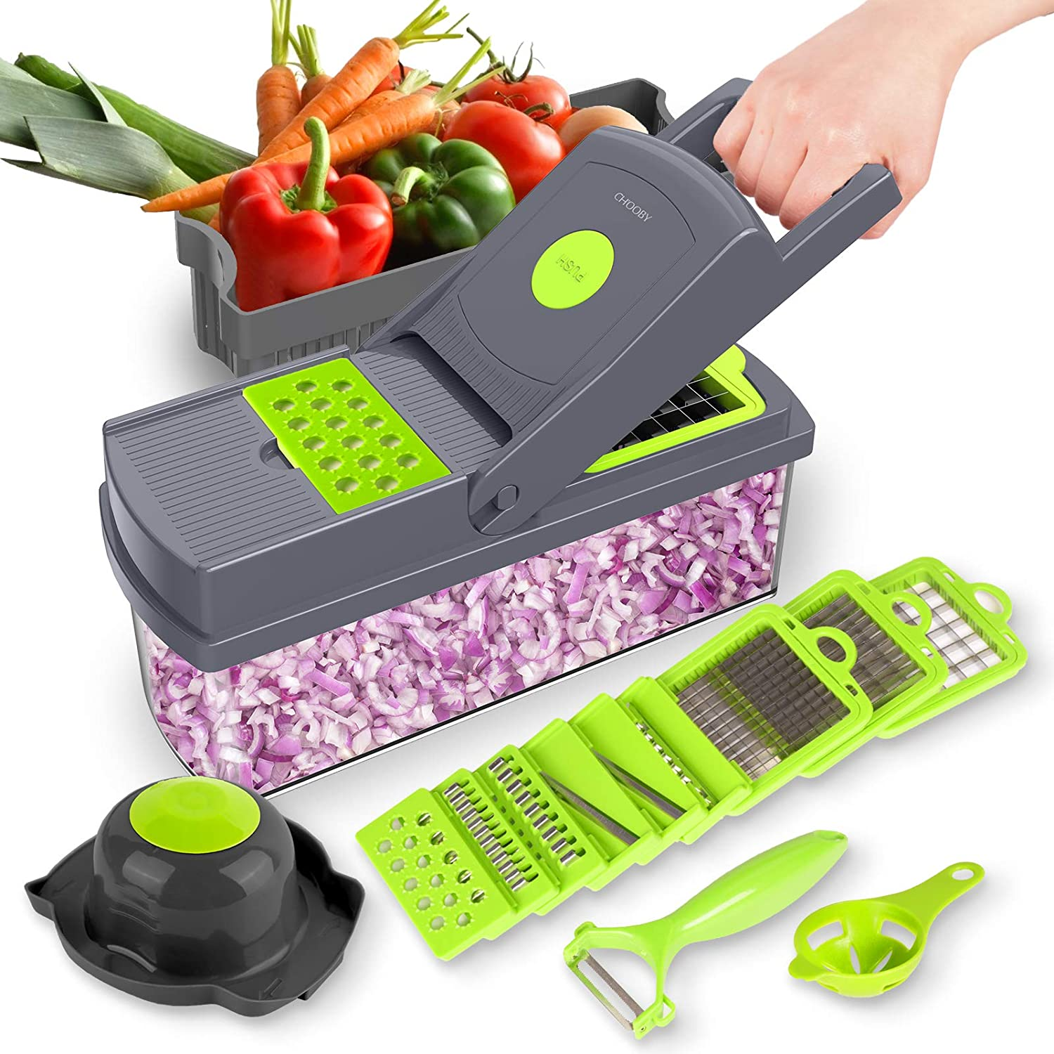 Vegetable Chopper, CHOOBY Onion Chopper Dicer with Container, 14-in-1 Multifunctional Veggie Slicer Food Cutter with 9 Stainless Steel Blades, Household Kitchen Gadgets for Vegetable Fruit